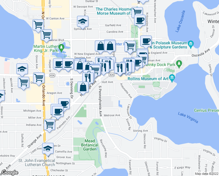 map of restaurants, bars, coffee shops, grocery stores, and more near 756 Mcintyre Avenue in Winter Park