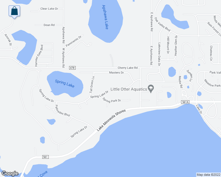 map of restaurants, bars, coffee shops, grocery stores, and more near 9712 Spring Lake Drive in Clermont