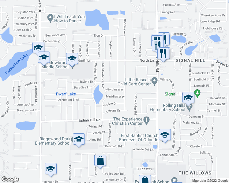 map of restaurants, bars, coffee shops, grocery stores, and more near 5606 Riordan Way in Orlando