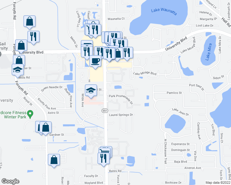 map of restaurants, bars, coffee shops, grocery stores, and more near 7612 University Garden Drive in Winter Park