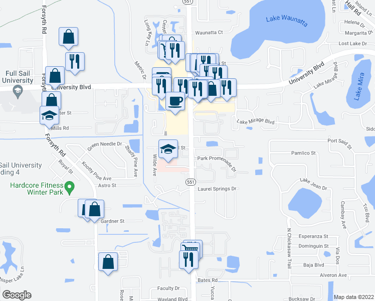 map of restaurants, bars, coffee shops, grocery stores, and more near 3640 North Goldenrod Road in Winter Park