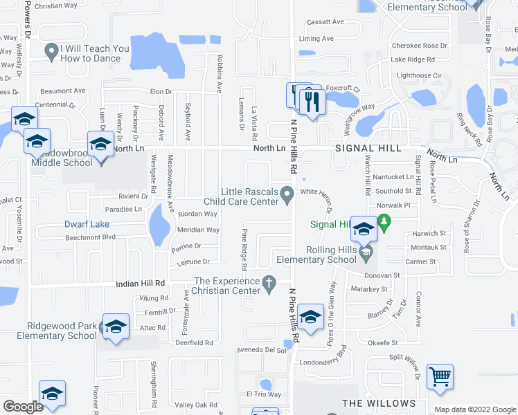 map of restaurants, bars, coffee shops, grocery stores, and more near 5316 Pine Hills Circle in Orlando
