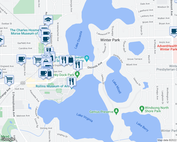 map of restaurants, bars, coffee shops, grocery stores, and more near 672 Osceola Avenue in Winter Park