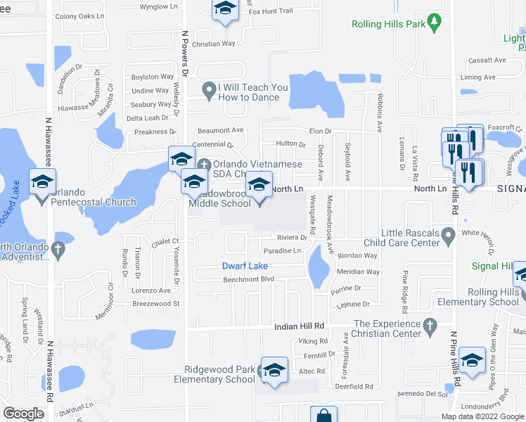 map of restaurants, bars, coffee shops, grocery stores, and more near 4111 Timber Trail in Orlando