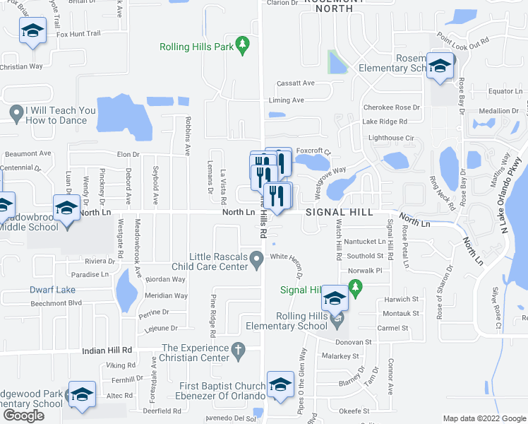 map of restaurants, bars, coffee shops, grocery stores, and more near N Pine Hills Rd & North Ln in Pine Hills