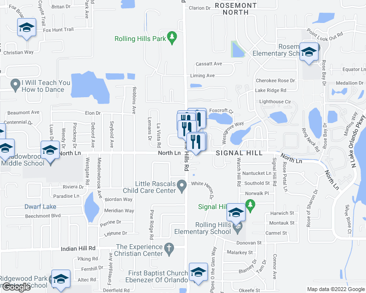 map of restaurants, bars, coffee shops, grocery stores, and more near 4516 North Pine Hills Road in Orlando