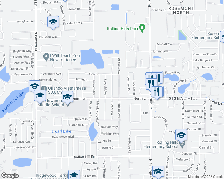 map of restaurants, bars, coffee shops, grocery stores, and more near 4502 Drexel Avenue in Orlando