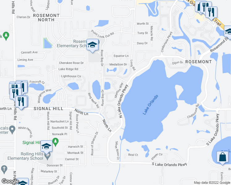 map of restaurants, bars, coffee shops, grocery stores, and more near 4501 Landing Drive in Orlando