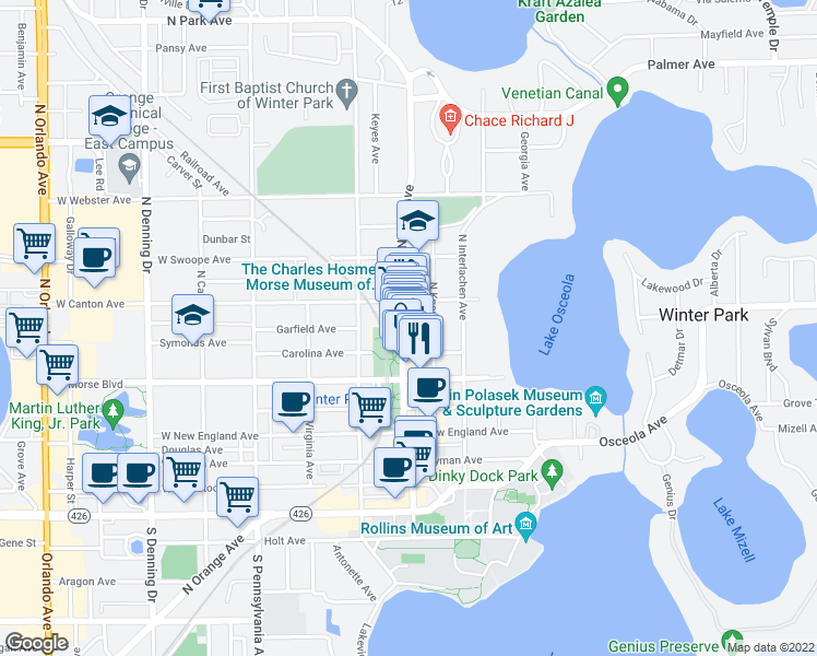 map of restaurants, bars, coffee shops, grocery stores, and more near 290 North Park Avenue in Winter Park