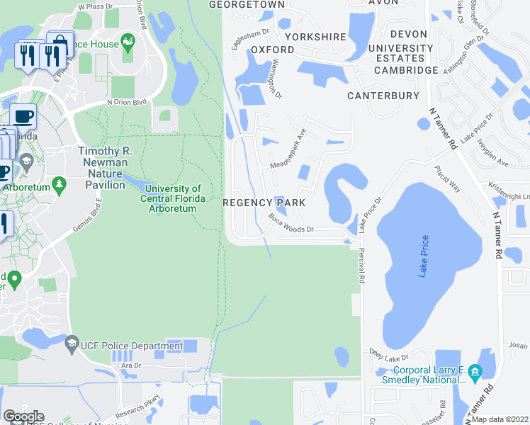 map of restaurants, bars, coffee shops, grocery stores, and more near 4005 Forest Island Drive in Orlando