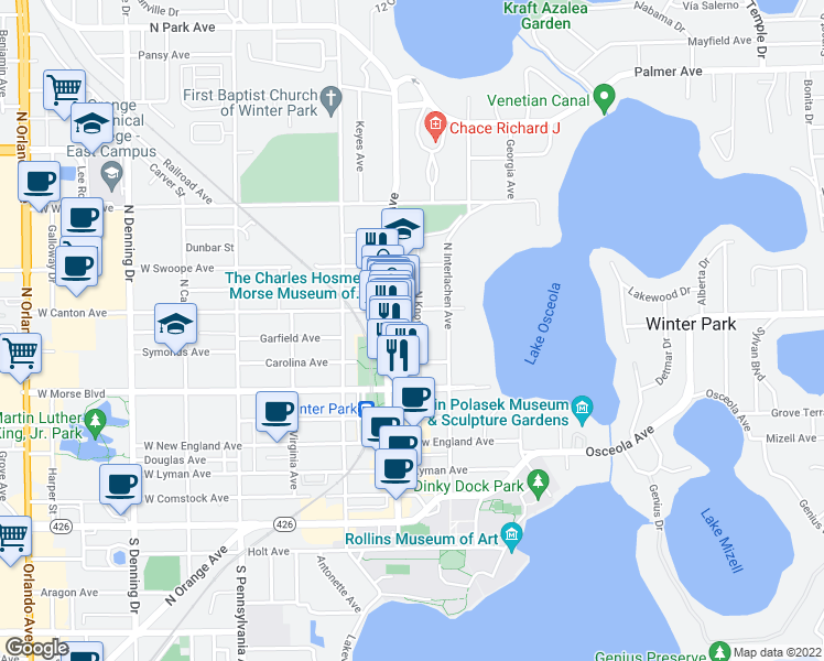 map of restaurants, bars, coffee shops, grocery stores, and more near 311 North Knowles Avenue in Winter Park