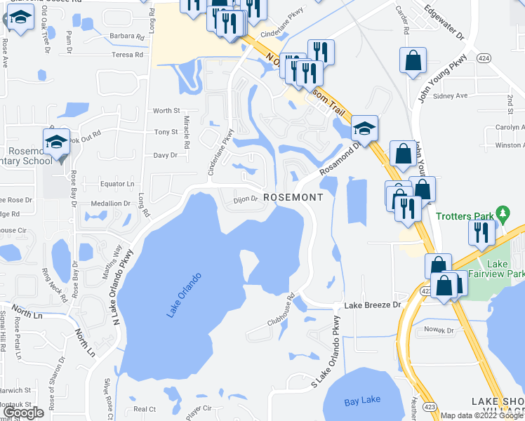 map of restaurants, bars, coffee shops, grocery stores, and more near 3942 Versailles Drive in Orlando