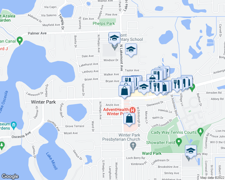 map of restaurants, bars, coffee shops, grocery stores, and more near 1800 Edwin Boulevard in Winter Park