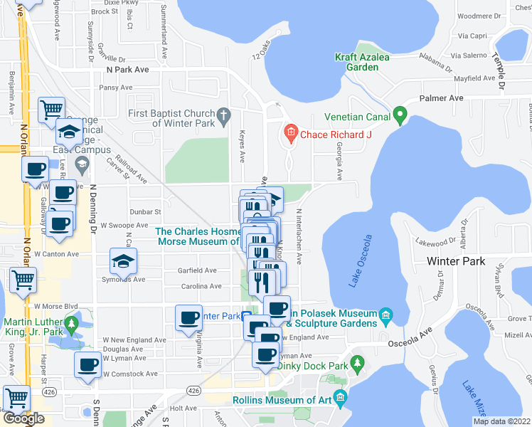 map of restaurants, bars, coffee shops, grocery stores, and more near 640 North Park Avenue in Winter Park