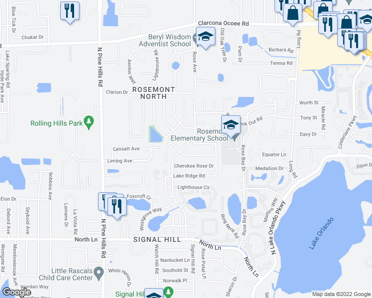 map of restaurants, bars, coffee shops, grocery stores, and more near 5047 Signal Hill Road in Orlando