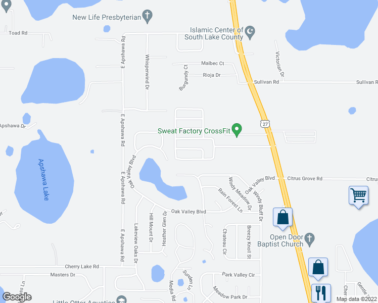 map of restaurants, bars, coffee shops, grocery stores, and more near 919 Cork Oak Lane in Minneola