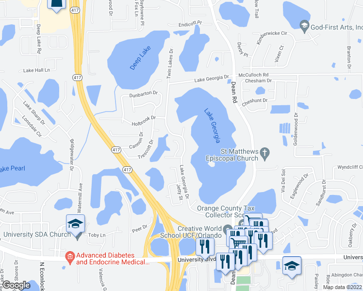 map of restaurants, bars, coffee shops, grocery stores, and more near 4425 Lipton Court in Orlando
