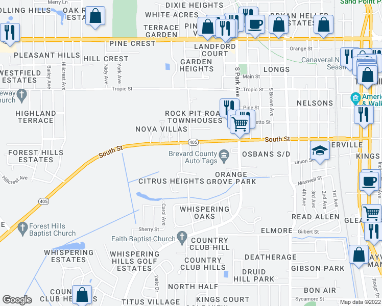 map of restaurants, bars, coffee shops, grocery stores, and more near 721 Rockpit Road in Titusville