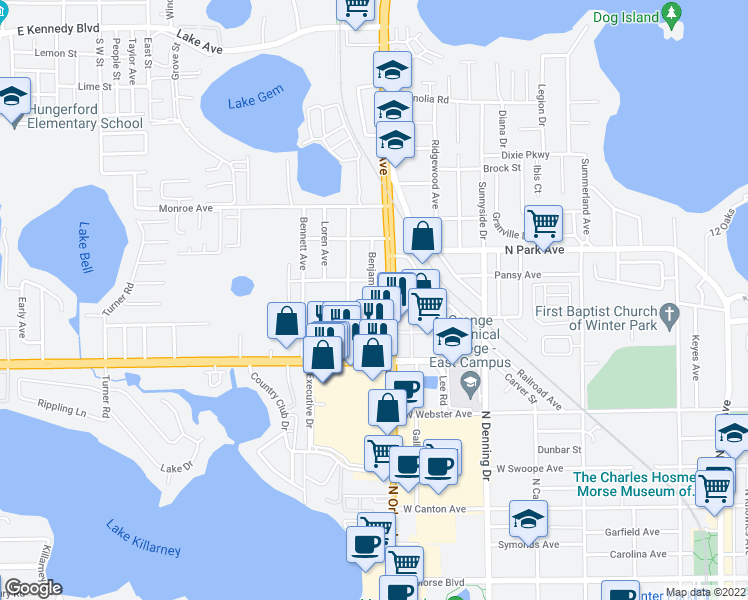 map of restaurants, bars, coffee shops, grocery stores, and more near 1156 Benjamin Avenue in Winter Park