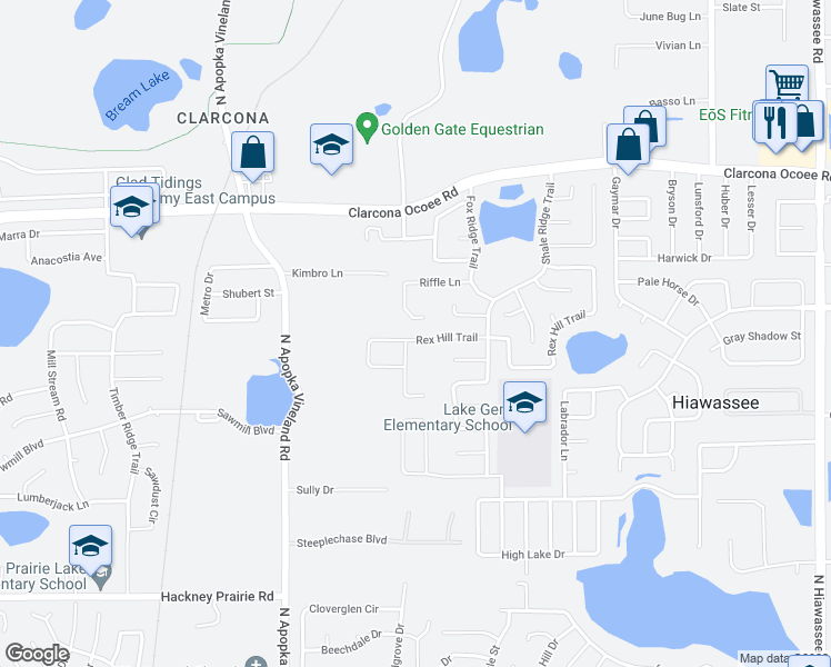 map of restaurants, bars, coffee shops, grocery stores, and more near 7833 Rex Hill Trail in Orlando