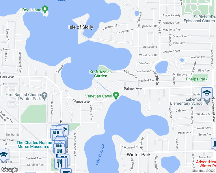 map of restaurants, bars, coffee shops, grocery stores, and more near 1218 Alabama Drive in Winter Park