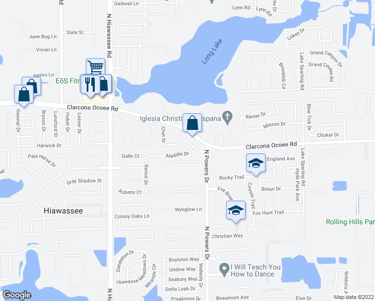 map of restaurants, bars, coffee shops, grocery stores, and more near 6405 Aladdin Drive in Orlando