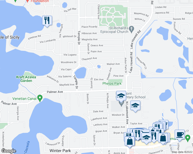 map of restaurants, bars, coffee shops, grocery stores, and more near 1315 Woodale Avenue in Winter Park