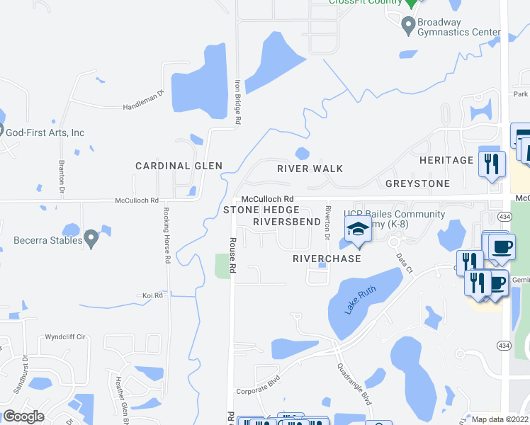 map of restaurants, bars, coffee shops, grocery stores, and more near 4517 Stone Hedge Drive in Orlando