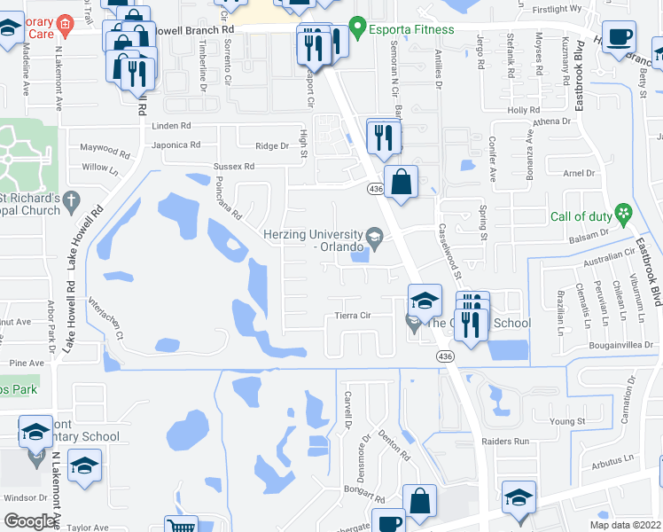 map of restaurants, bars, coffee shops, grocery stores, and more near 1802 Winter Green Boulevard in Winter Park