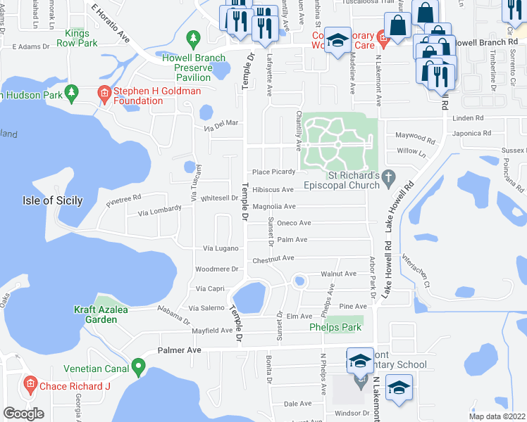 map of restaurants, bars, coffee shops, grocery stores, and more near 1360 Magnolia Avenue in Winter Park