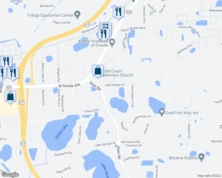 map of restaurants, bars, coffee shops, grocery stores, and more near 5451 County Fair Court in Oviedo