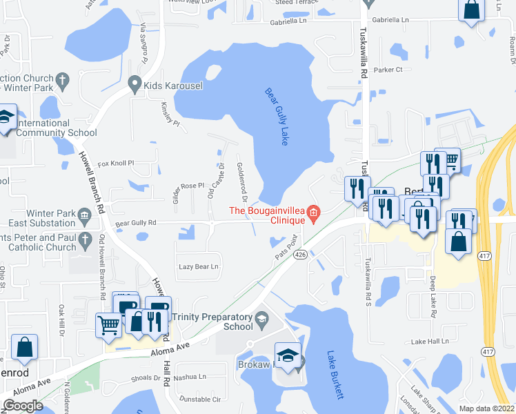 map of restaurants, bars, coffee shops, grocery stores, and more near 2890 Goldenrod Drive in Winter Park