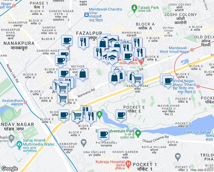 map of restaurants, bars, coffee shops, grocery stores, and more near in New Delhi