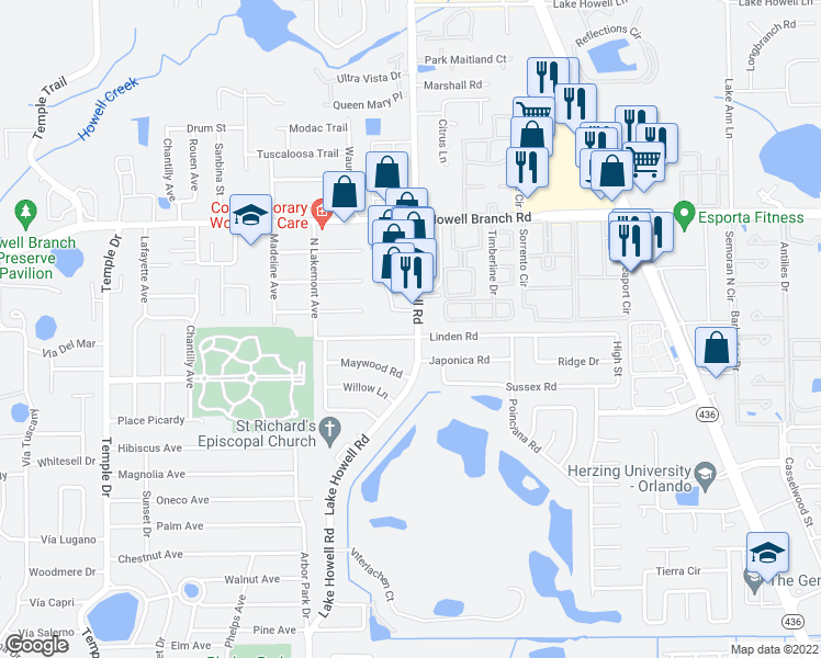 map of restaurants, bars, coffee shops, grocery stores, and more near 5341 Lake Howell Road in Winter Park