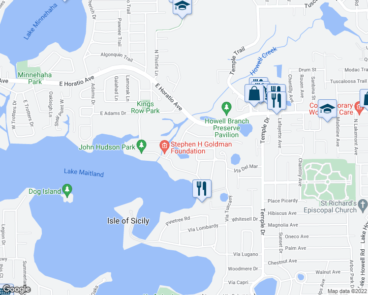 map of restaurants, bars, coffee shops, grocery stores, and more near 910 Poinciana Lane in Winter Park