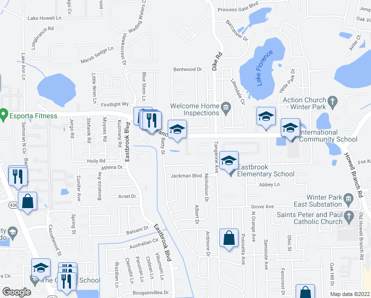 map of restaurants, bars, coffee shops, grocery stores, and more near 3834 Howell Branch Road in Winter Park