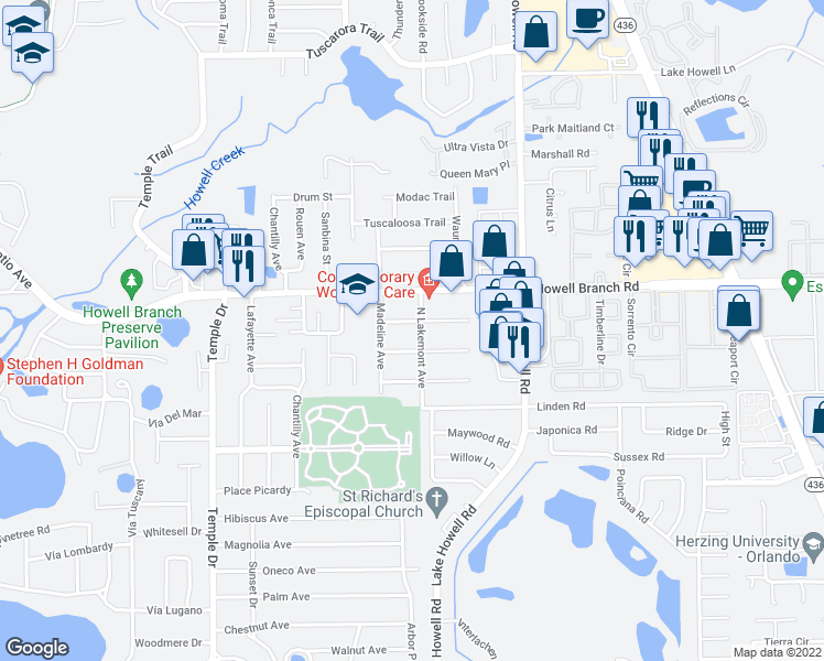 map of restaurants, bars, coffee shops, grocery stores, and more near 1824 Carrigan Avenue in Winter Park