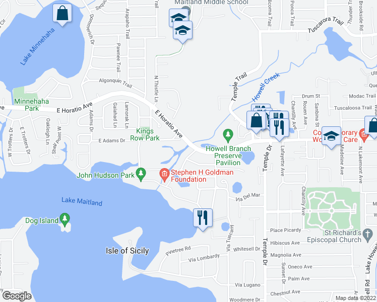map of restaurants, bars, coffee shops, grocery stores, and more near 2550 Venetian Way in Winter Park