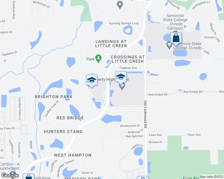 map of restaurants, bars, coffee shops, grocery stores, and more near 3200 Lockwood Boulevard in Oviedo