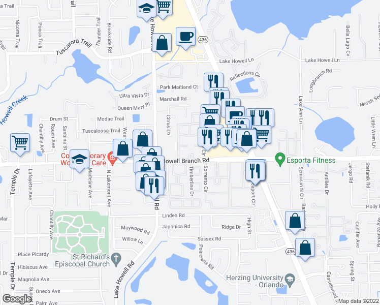 map of restaurants, bars, coffee shops, grocery stores, and more near 416 Banyon Tree Circle in Maitland