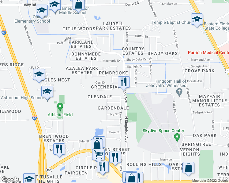 map of restaurants, bars, coffee shops, grocery stores, and more near 3265 Greenbriar Court in Titusville