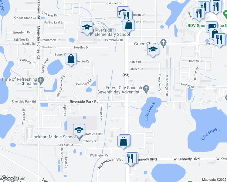 map of restaurants, bars, coffee shops, grocery stores, and more near 7674 Forest City Road in Orlando