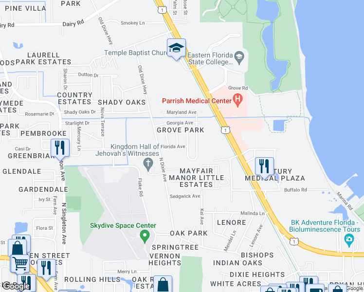 map of restaurants, bars, coffee shops, grocery stores, and more near 2300 Florida Avenue in Titusville