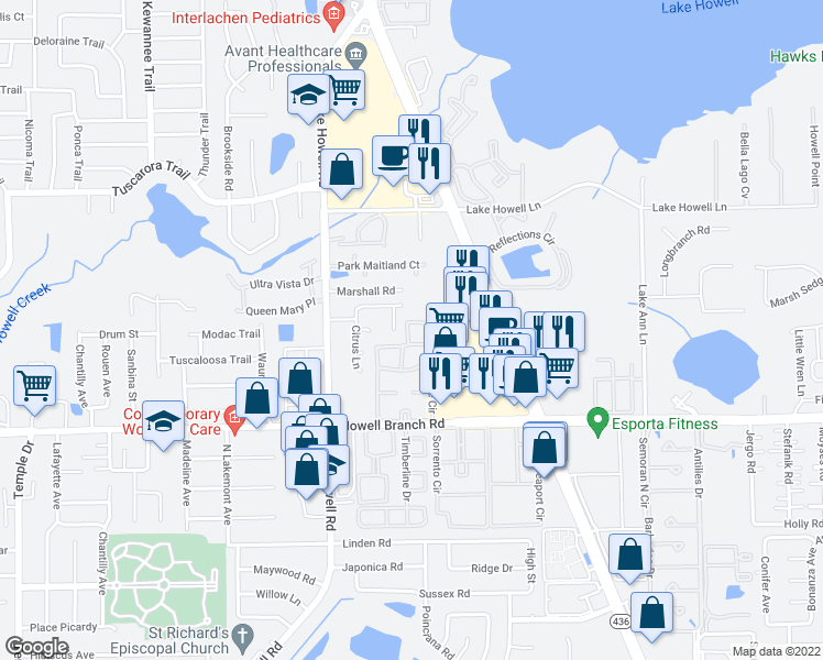 map of restaurants, bars, coffee shops, grocery stores, and more near 1995 Water Lane in Maitland