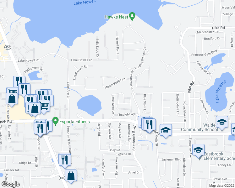 map of restaurants, bars, coffee shops, grocery stores, and more near 1455 Broad Wing Lane in Aloma