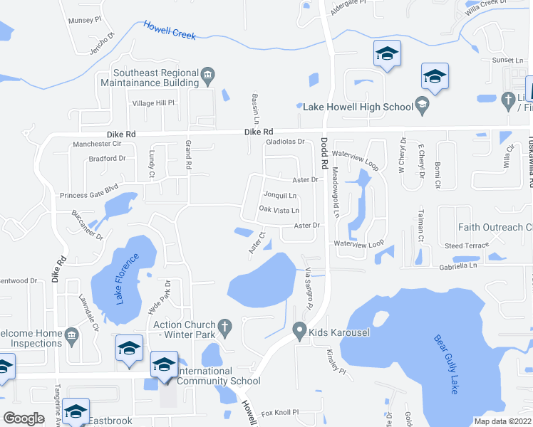 map of restaurants, bars, coffee shops, grocery stores, and more near 3611 Oak Vista Lane in Winter Park