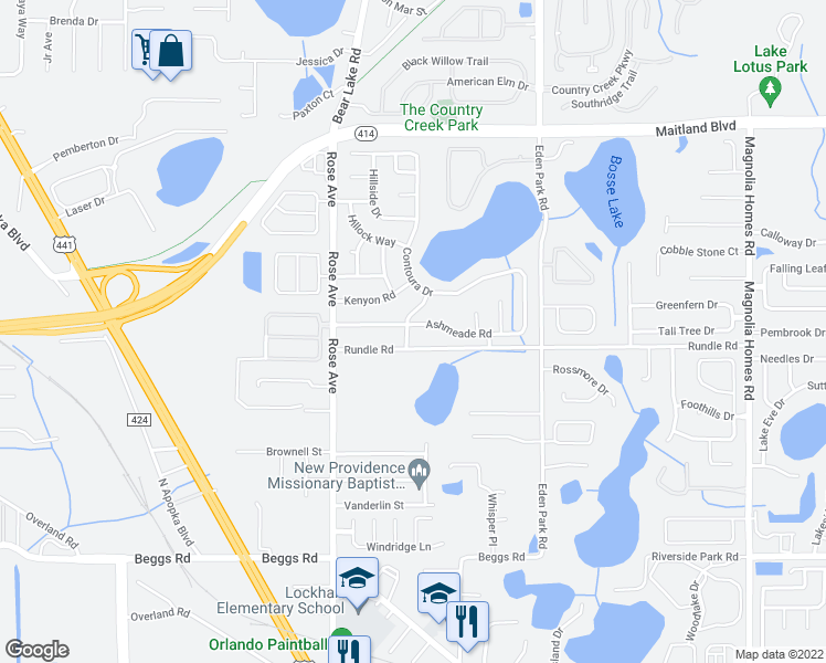 map of restaurants, bars, coffee shops, grocery stores, and more near 5220 Ashmeade Road in Orlando