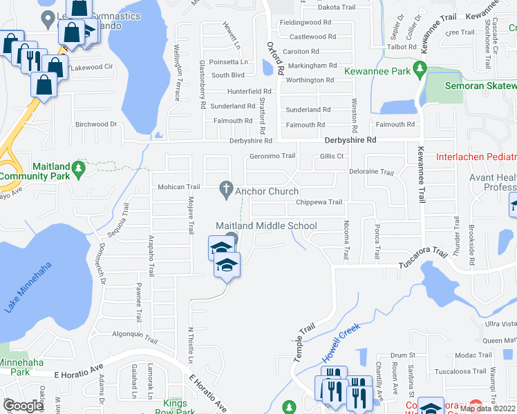 map of restaurants, bars, coffee shops, grocery stores, and more near 2008 Chippewa Trail in Maitland