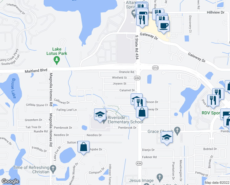 map of restaurants, bars, coffee shops, grocery stores, and more near 3108 Calumet Drive in Orlando