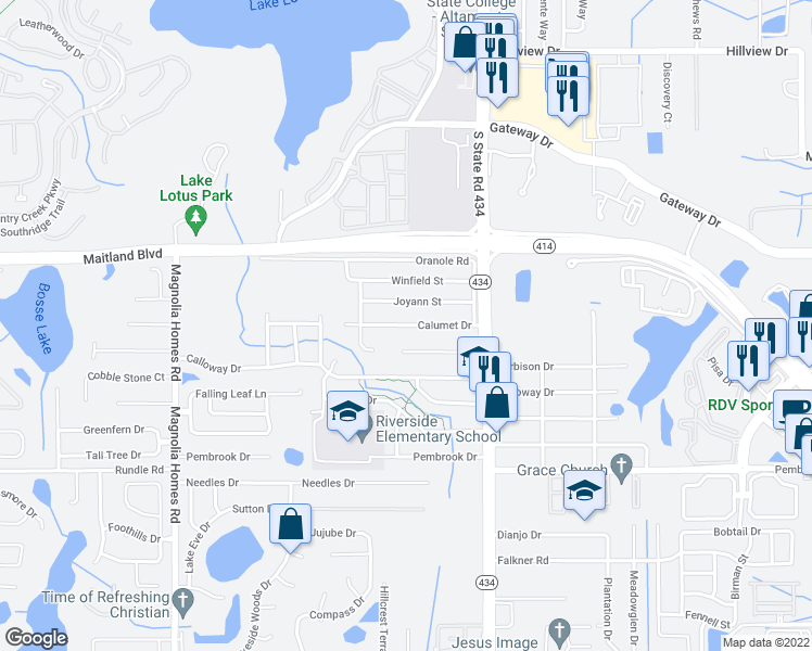 map of restaurants, bars, coffee shops, grocery stores, and more near 3109 Calumet Drive in Orlando